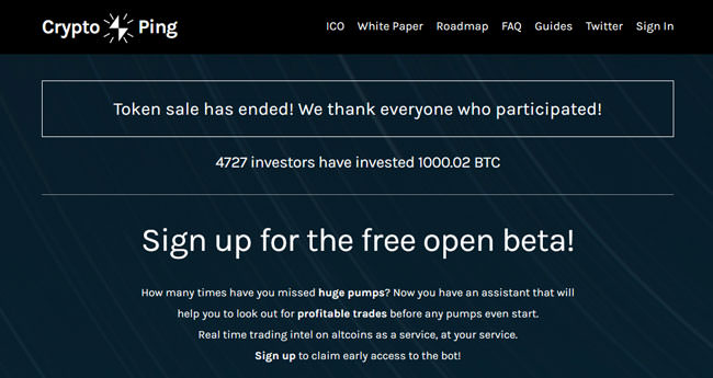 CryptoPing Homepage
