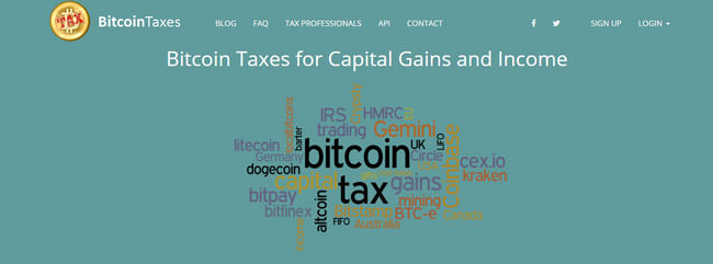bitcoinTaxes homepage